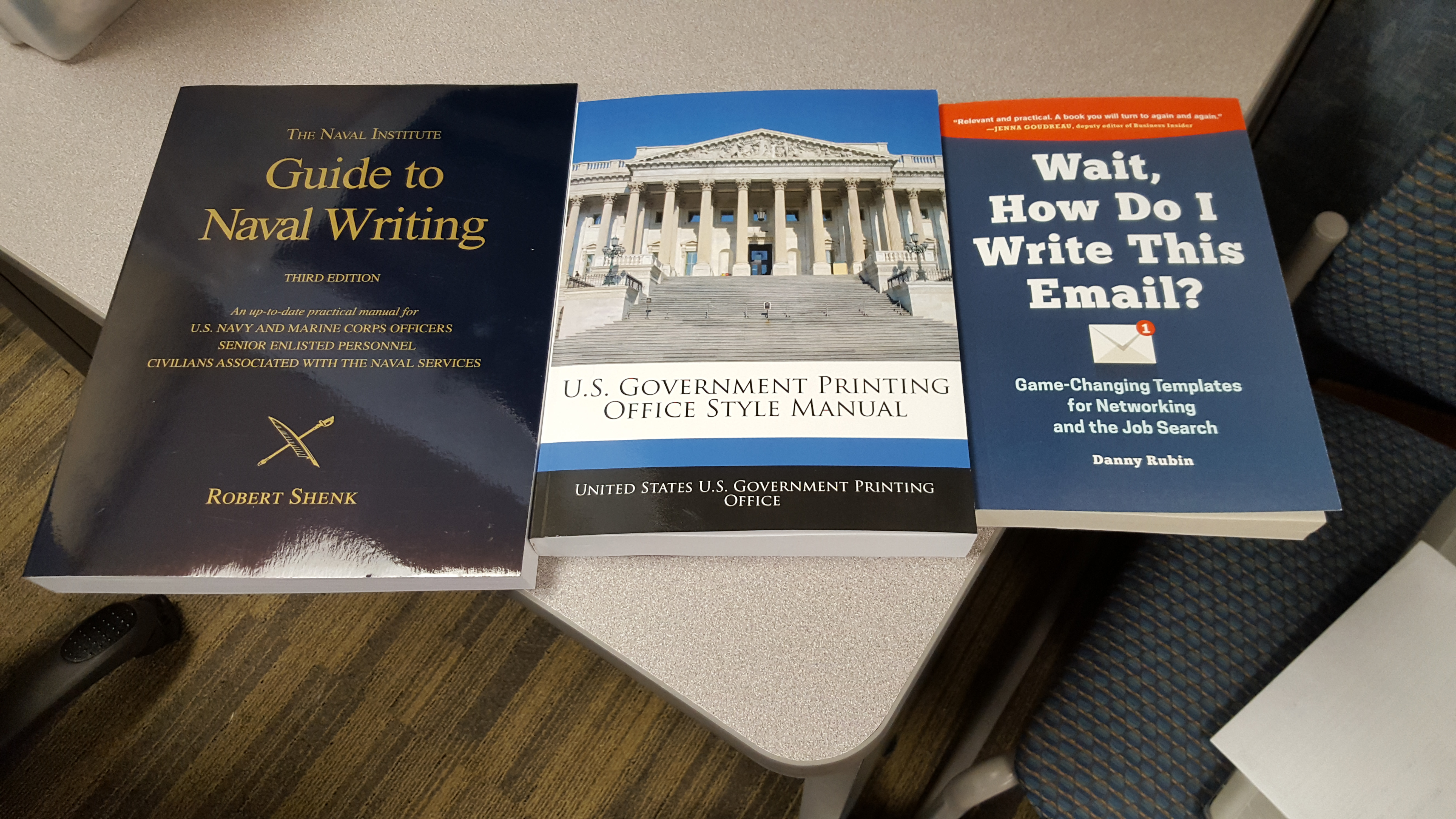 """Danny's book, """"Wait, How Do I Write This Email?,"""" alongside the two other textbooks for the """"Naval Correspondence"""" course talk to military members and contractors as several US military installations."""